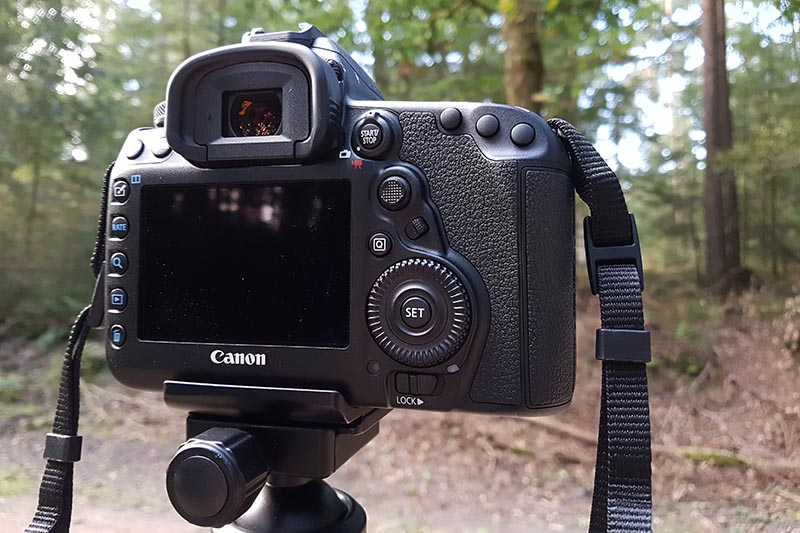 De achterzijde van de Canon 5D Mark IV, sprekend de Mark III.